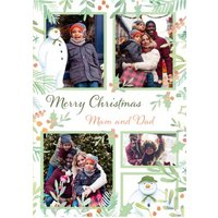The Snowman Merry Christmas To Mam And Dad Photo Upload Card, Standard Size By Moonpig