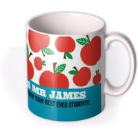 Top Teacher Apple Print Personalised Mug by Moonpig, Gift Set - Delivery Available