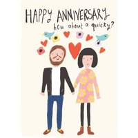 Cute Happy Anniversary How About A Quicky Card, Standard Size By Moonpig