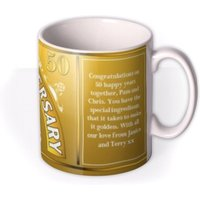 Golden Anniversary Personalised Photo Upload Mug by Moonpig, Gift Set - Delivery Available