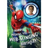 Marvel Spiderman Have A Web-Slinging Birthday Photo Card, Standard Size By Moonpig