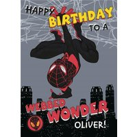 Marvel Spiderman To A Webbed Wonder Birthday Card, Standard Size By Moonpig
