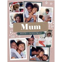 Modern Photo Upload Collage Merry Christmas Mum Card, Giant Size By Moonpig