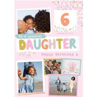 Modern Photo Upload Collage To A Special Daughter Happy Birthday Card, Giant Size By Moonpig