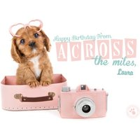 'Puppy In A Suitcase Across The Miles Happy Birthday Card, Large Size By Moonpig
