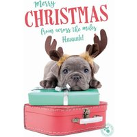 'Puppy On A Suitcase Across The Miles Personalised Christmas Card, Large Size By Moonpig