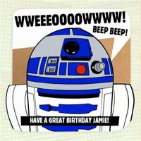 Star Wars R2D2 Personalised Birthday Card, Square Card Size By Moonpig