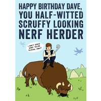 'Star Wars Han Solo Nerf Herder Funny Birthday Card, Standard Size By Moonpig
