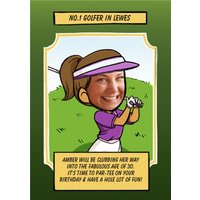 Birthday Card - Face In The Hole Female Photo Upload Sport Golfer, Standard Size By Moonpig
