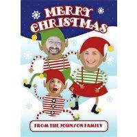 Santa Elves Face Photo Upload Christmas Card, Standard Size By Moonpig