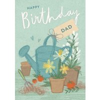 Floral- Happy Birthday Card - DAD, Standard Size By Moonpig