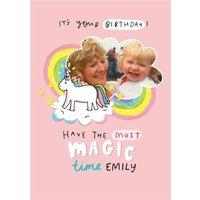 Unicorn Magic Photo Upload Birthday Card, Standard Size By Moonpig