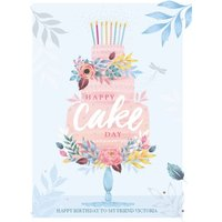 Traditional Happy Cake Day Friend Birthday Card , Standard Size By Moonpig