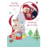Tatty Teddy And Cuddly Rudolph Personalised Photo Upload Merry Christmas Card For Aunt Uncle, Large