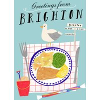 Greeting From Brighton Personalised Fish & Chips Card, Giant Size By Moonpig