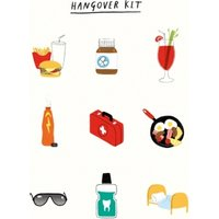 Hangover Kit Icons Birthday Card, Large Size By Moonpig