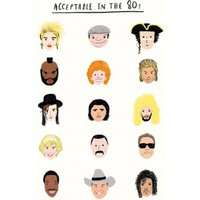 Acceptable In The 80s Famous People From Icons Birthday Card, Standard Size By Moonpig
