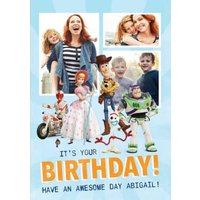 Disney Toy Story 4 Awesome Birthday Photo Upload Postcard, Postcard Size By Moonpig