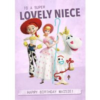 Toy Story 4 Birthday Card - To A Super Lovely Niece, Large Size By Moonpig