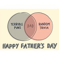 Funny Venn Diagram Puns & Trivia Father's Day Card, Standard Size By Moonpig