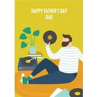Colourful & Bright Vinyl Record Playing Dad Father's Day Card, Standard Size By Moonpig