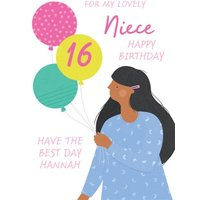 Lovely Niece 16th Birthday Balloons Card, Standard Size By Moonpig