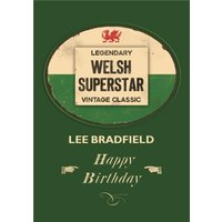 Welsh Superstar Personalised Name Card, Standard Size By Moonpig