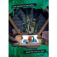 Checking The Roof For Leeks Funny Joke Personalised Happy Birthday Card, Giant Size By Moonpig