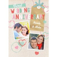 1st Anniversary Card, Standard Size By Moonpig
