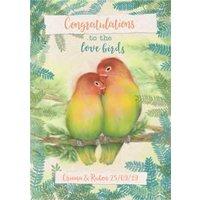 Wedding Card - Congratulations Love Birds Wild Birds, Standard Size By Moonpig