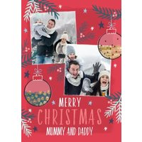 Merry Christmas Mummy And Daddy Photo Upload Card, Giant Size By Moonpig