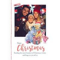 Disney Winnie The Pooh Sending Fuzzies Christmas Card, Standard Size By Moonpig