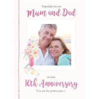 Disney Winnie The Pooh Mum And Dad Perfect Pair 10th Anniversary Photo Upload Card, Large Size By Mo