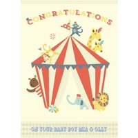 Personalised Cartoon Circus New Baby Card, Giant Size By Moonpig