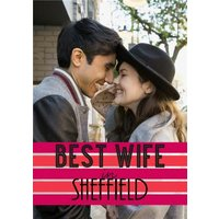Best Wife In Personalised Place Photo Card, Giant Size By Moonpig