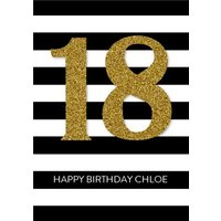 Personalised 18th Birthday Card - 18 Stripe Card, Large Size By Moonpig