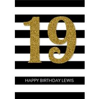Black And White Stripes Glitter Number Personalised Happy 19th Birthday Card, Large Size By Moonpig