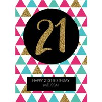 Metallic Geometric Triangle Happy 21st Birthday Card, Giant Size By Moonpig