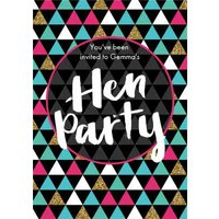 Geometric Patterned Personalised Hen Party Invitation Card, Standard Size By Moonpig