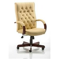 Chesterfield Executive Chair Cream Bonded Leather With Arms - EX