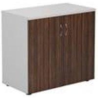 Desk High White Cupboard With Dark Walnut Doors - Dark - TES745CPWHDW