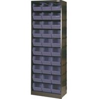 Metal Bin Cupboard With 30 Dark Grey Black Polypropylene Bins