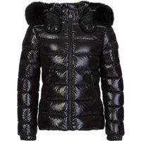 Moncler Enfant Black Hooded Fur Coat  - Size 10 Years