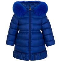 Moncler Enfant Blue Fur Hooded Puffer Coat - Size 9 - 12 Months