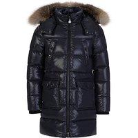 Moncler Enfant Navy Sagnes Puffer Fur Coat - Size 8 Years