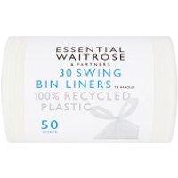 essential Waitrose swing bin liners with tie handles, roll of 30