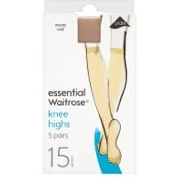 essential Waitrose 15 denier nude knee high tights, pack of 5