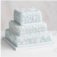 Blossom 3 Tier Pastel Blue Wedding Cake, Golden Sponge (all tiers) at Waitrose
