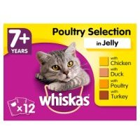 WHISKAS 7+ Senior Cat Pouches Poultry Selection in Jelly 12 x 100g
