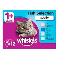 WHISKAS 1+ Cat Pouches Fish Selection in Jelly 12 x 100g